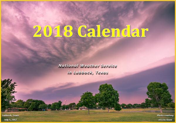 2018 NWS Lubbock Calendar