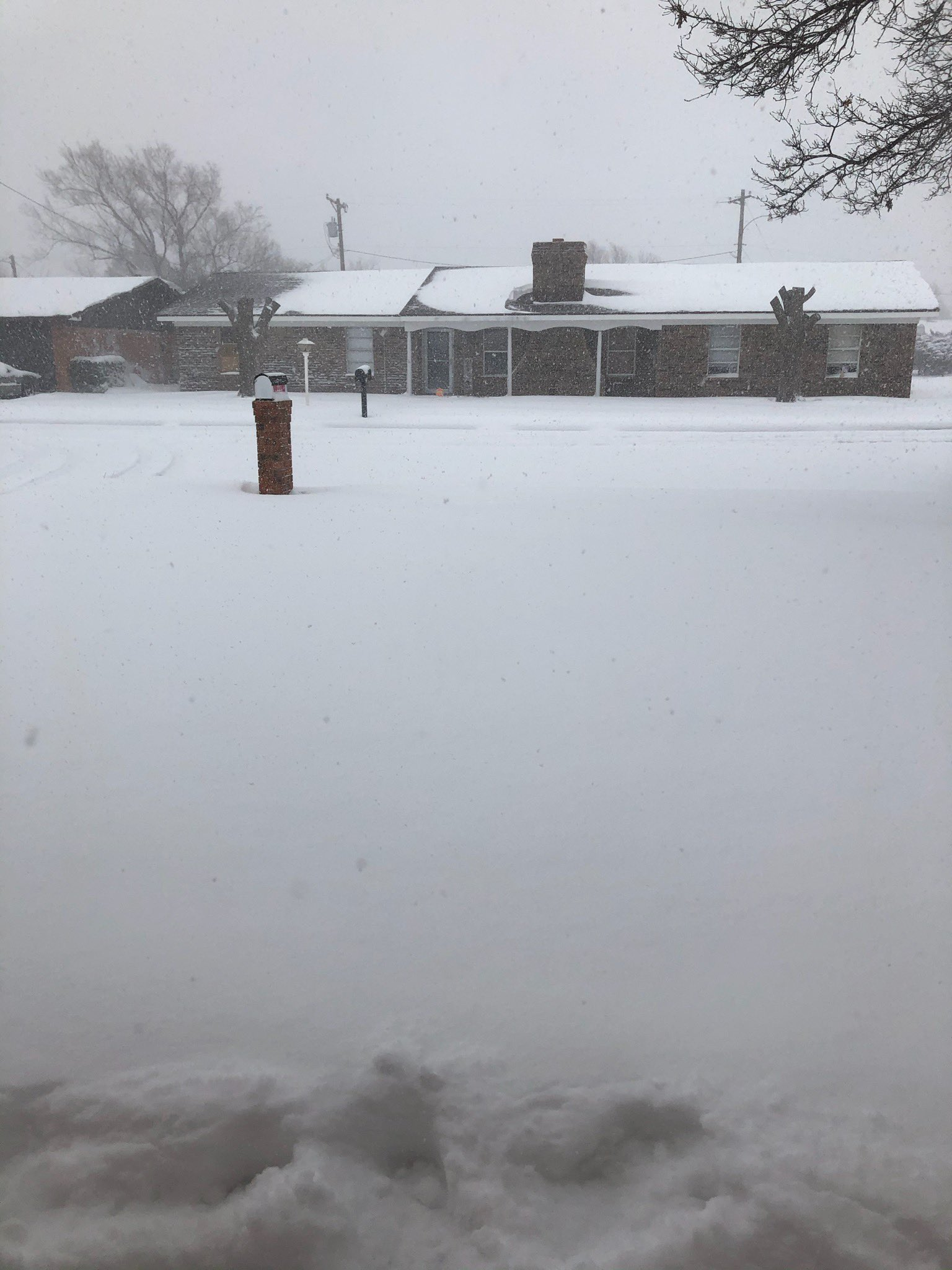 Snow falling in Friona Tuesday afternoon (4 February 2020). The picture is courtesy of Steve Cobb.