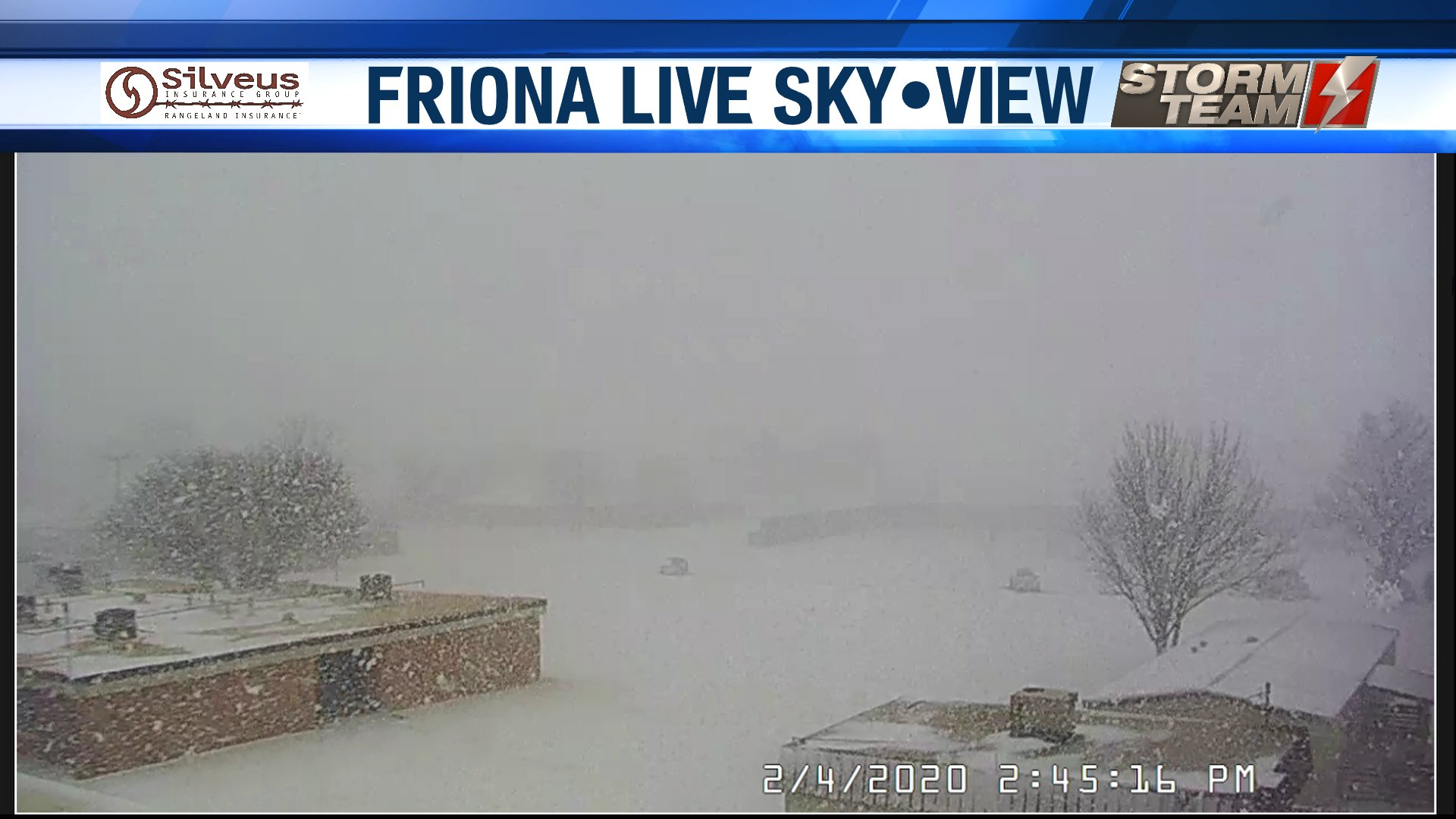 Snowy scene in Friona on Tuesday afternoon (4 February 2020). The image is courtesy of KVII.