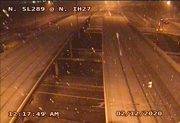 Snow falling in north Lubbock (Loop 289 and I-27) at 12:17 am on 12 February 2020. The image is courtesy of TXDOT.