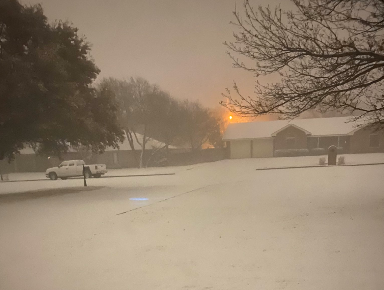 Snow blanketing Plainview on 12 February 2020. The picture is courtesy of Bobby Johnston.