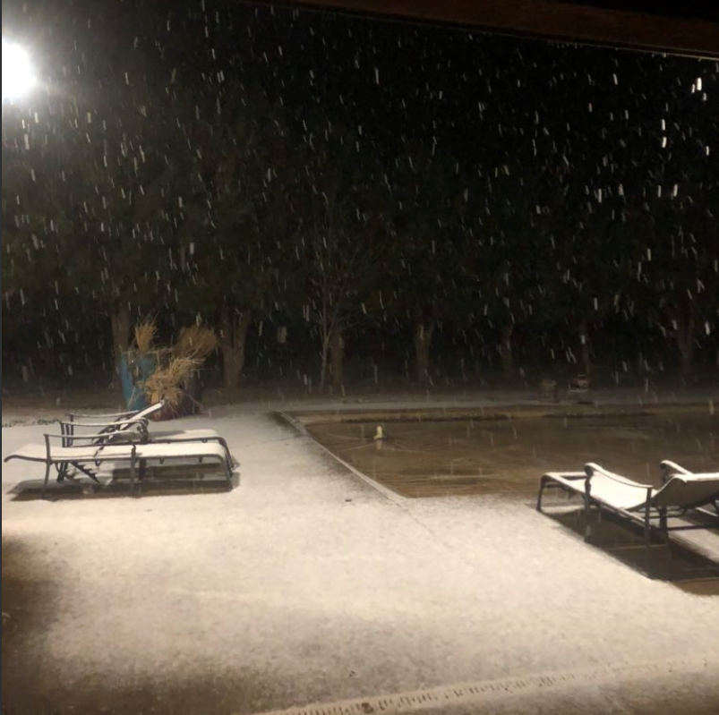 Snowy scene in Ropes late Tuesday night (11 February 2020). The image is courtesy of Mike Henson.