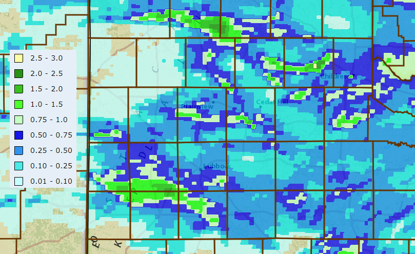 24-hour rain totals ending at 10 am on Tuesday (12 May).