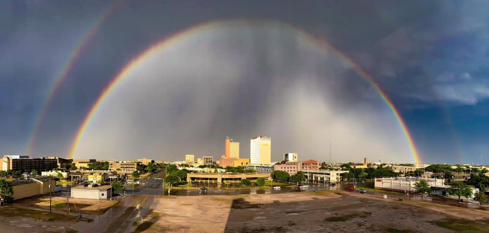 A backlite departing thunderstorm produced a beautiful view from Lubbock Wednesday evening. The picture is courtesy of Derek Williams and Kellyanne Klass.