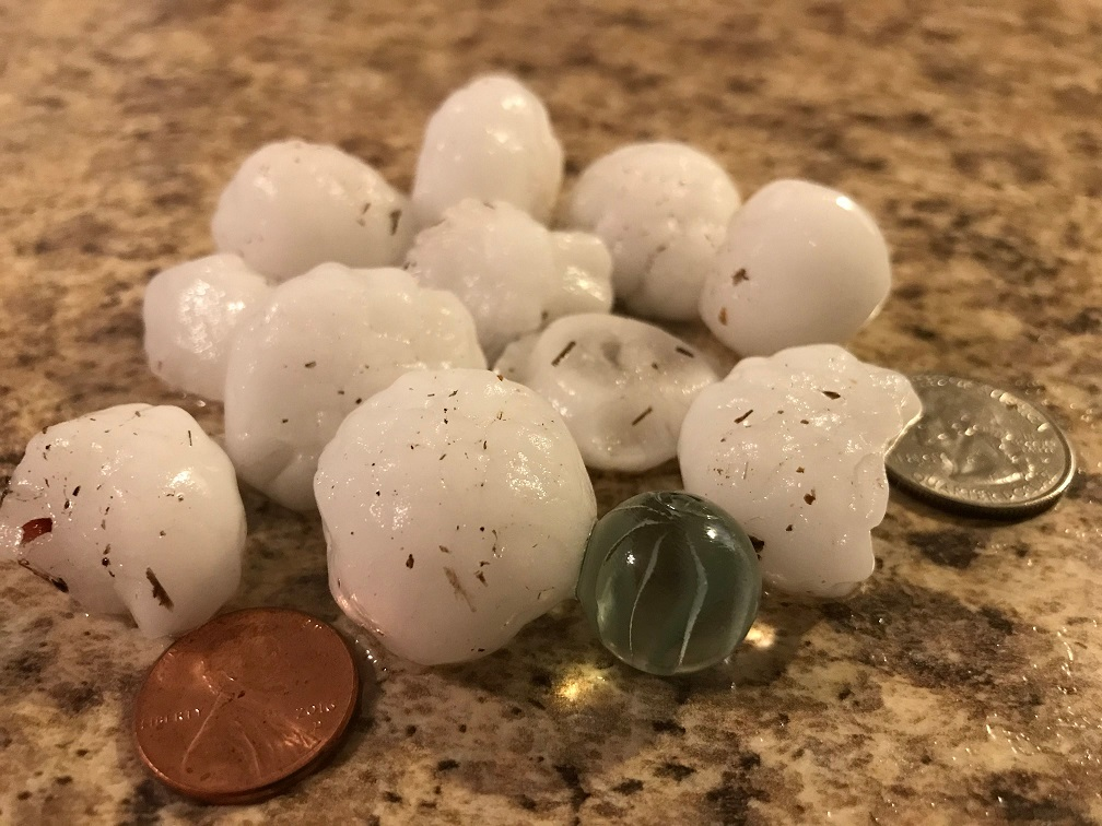 Hail that fell near 90th and Slide in Lubbock Wednesday evening. The image is courtesy of Barry Auer.