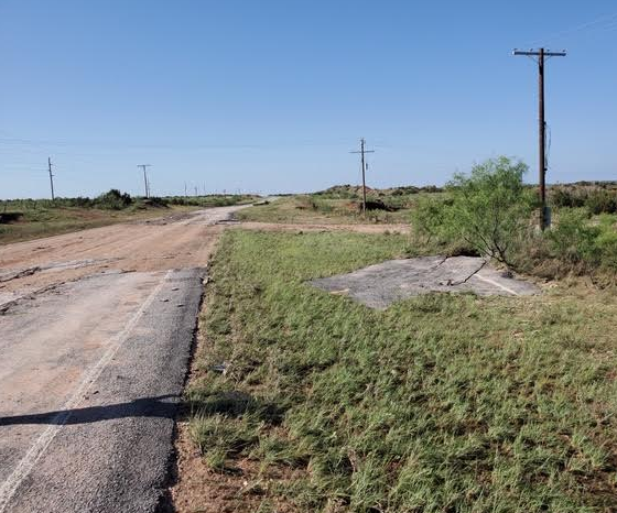 Portion of FM 669 washed out south of Post on 24 May 2020. The picture is courtesy of John Lipe.