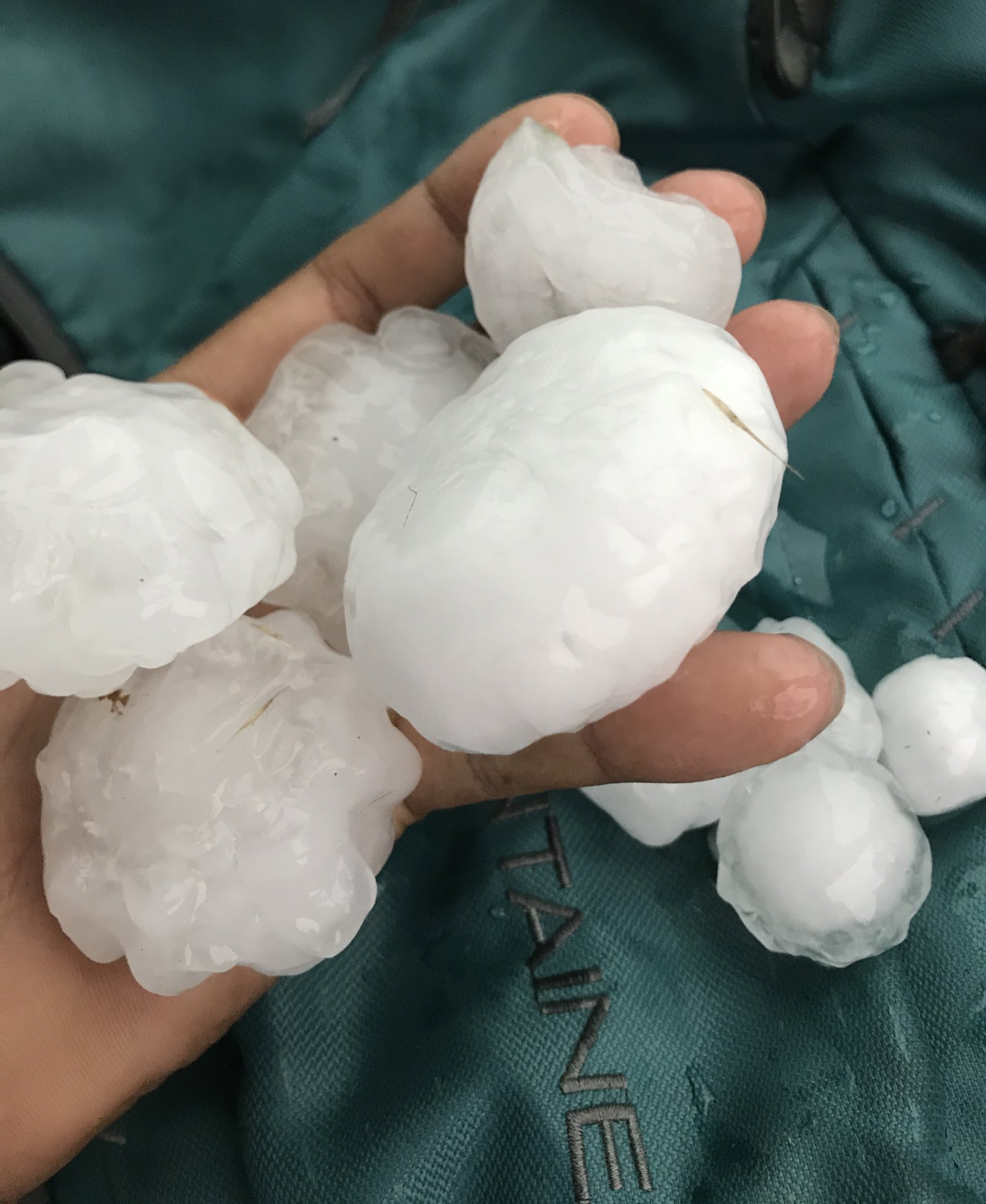 Large hail that fell in Silverton Saturday evening (23 May 2020). The picture is courtesy of Ian Shelton.