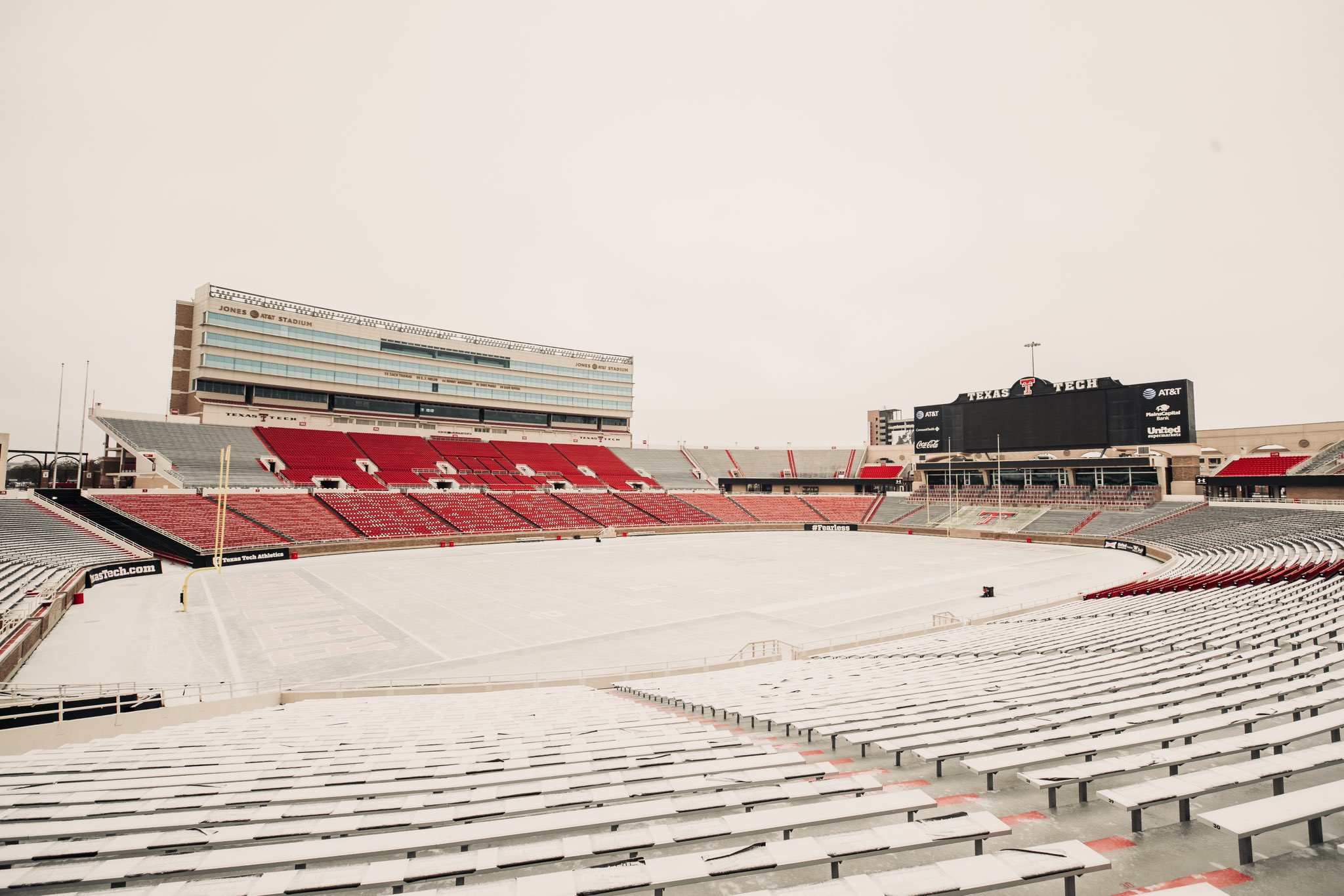 A sleet and ice coverage Jones AT&T Stadium at Texas Tech on Tuesday (27 October 2020). The image is courtesy of Texas Tech Football.