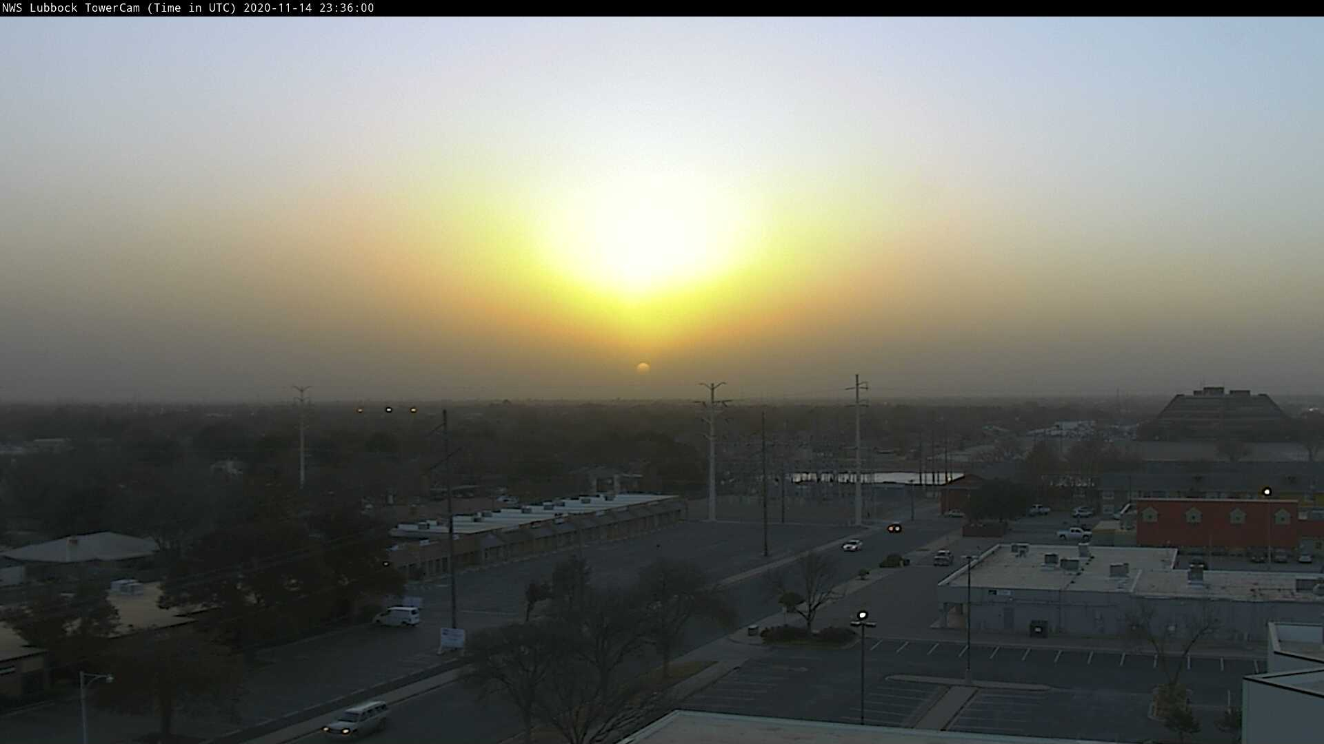 Colorful, dusty sunset Saturday evening (14 November 2020).
