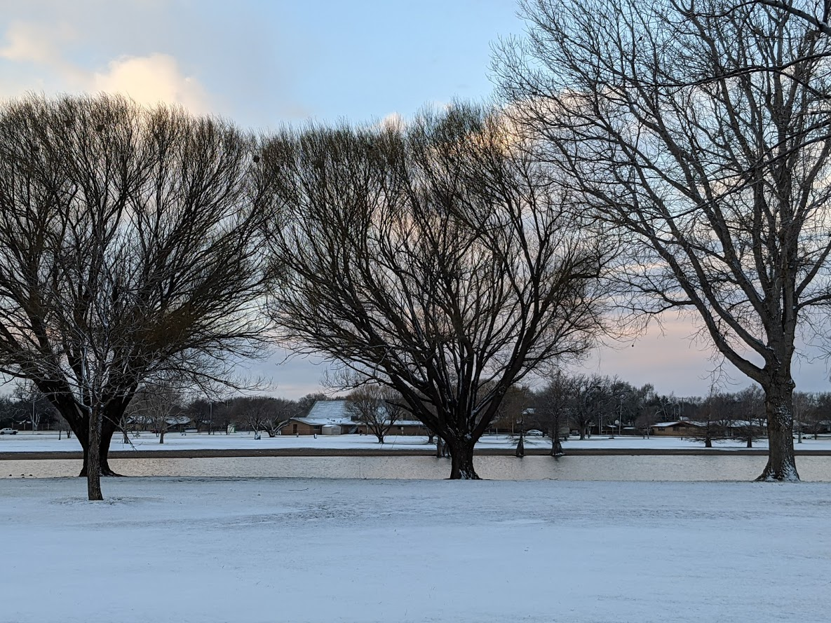 A coating of snow blanketing Higginbotham Park in Lubbock early Wednesday morning (30 December 2020). The picture is courtesy of Mike Shaw.
