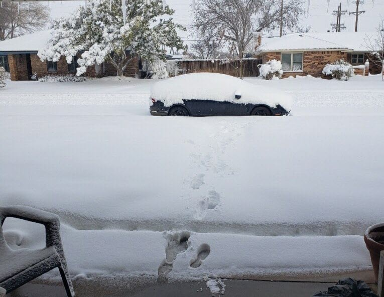 Heavy snow in Denver City on Sunday (10 January 2021). The picture is courtesy of our COOP observer Clinton Bowman.