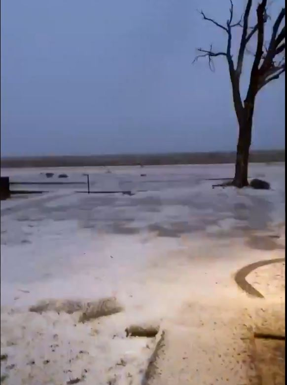 Small hail covering the ground in Spade Sunday evening (24 January 2021). The image is courtesy of Javy Troche via Jacob Riley.