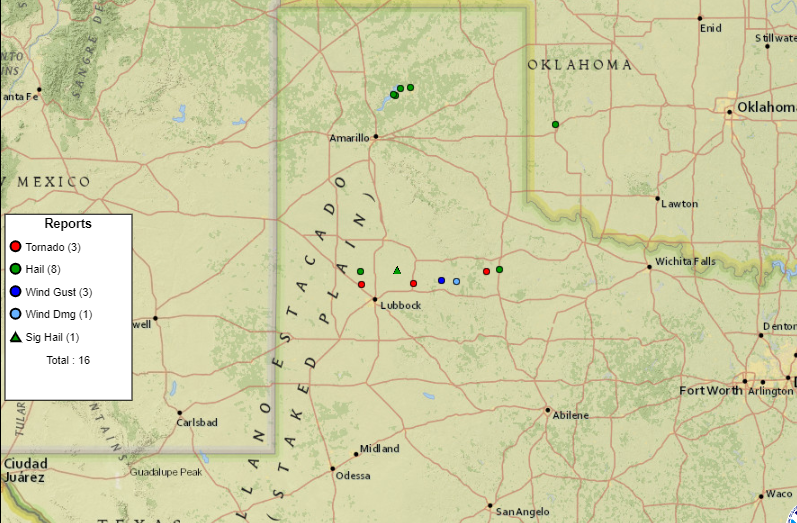 Plot of the preliminary storm reports for Friday (12 March).