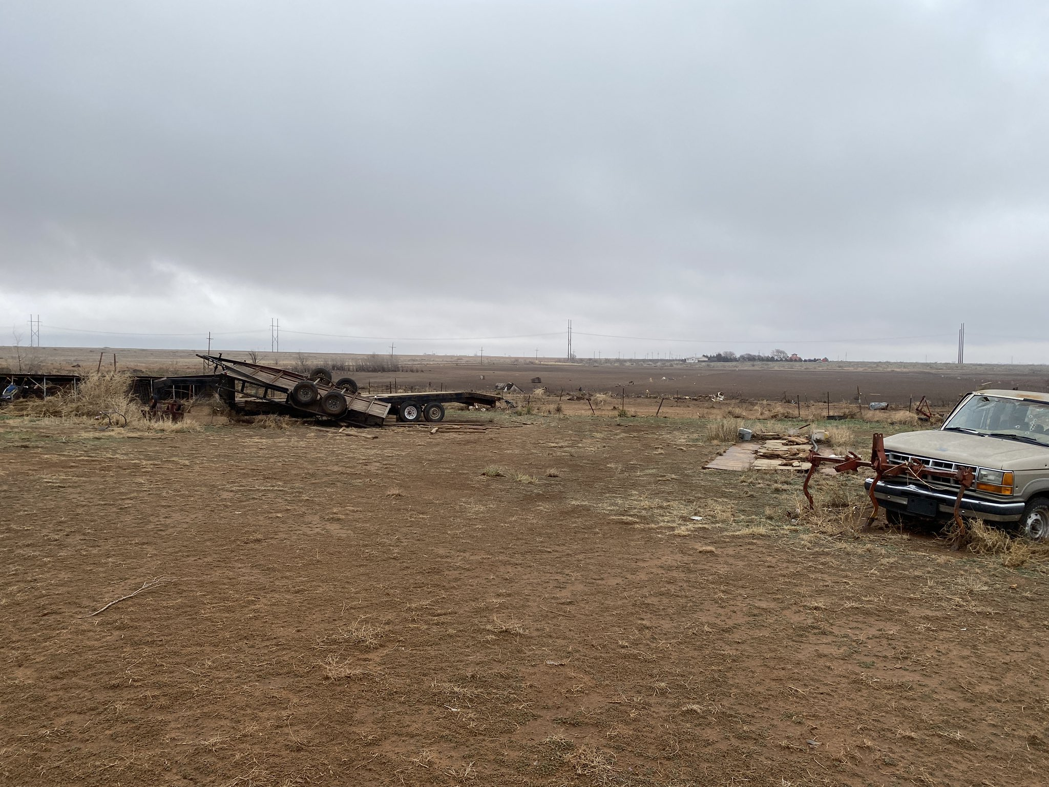 Tornado damage incurred northwest of Shallowater on March 12th. The picture is courtesy ofLarry Rodriques.