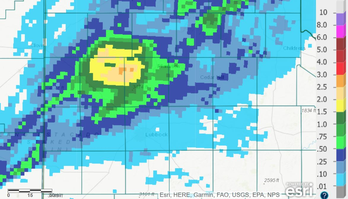 24-hour radar-estimated and bias-corrected rainfall ending at 7 am on Thursday (27 May 2021).
