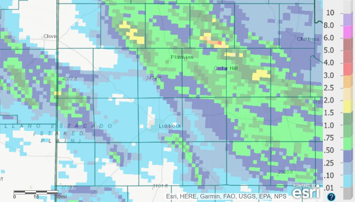 24-hour radar-estimated and bias-corrected rainfall ending at 7 am on Wednesday (2 June 2021).