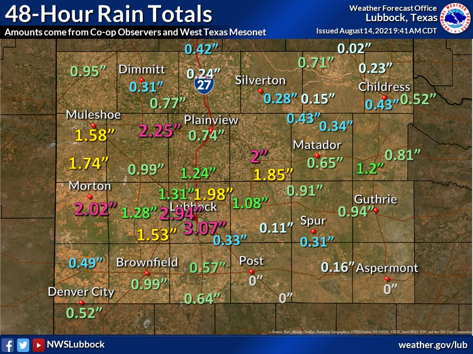 48-hour rain totals, ending at 9 am on Saturday (14 August 2021), courtesy of the West Texas Mesonet and NWS COOP Observers.